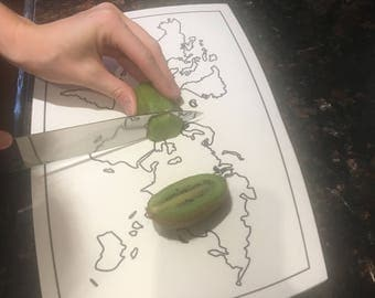 World map Solid Surface Cutting Board - Corian