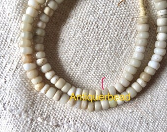 Bohemian antique ethiopia white padre glass beads- Africa trade beads