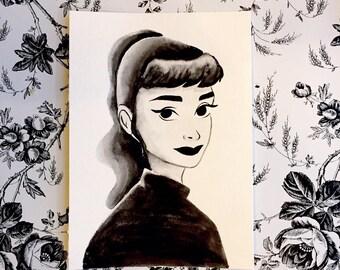 Audrey Hepburn Illustration Portrait