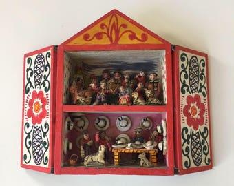 Vintage Peruvian Retablo Diorama Signed by Artist 1970s