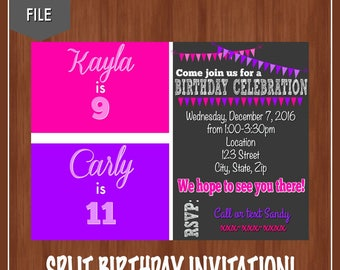 Pink & Purple Birthday Invitation - Sister Birthday Invitation - Split Birthday Invite - Twin Birthday - Double Party Invitation - Girls