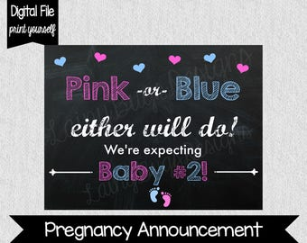 Pregnancy Announcement Sign - Pink or Blue - Baby #2 - Second Baby - Announce Second Baby - Pregnancy Announcement Sign - Digital File