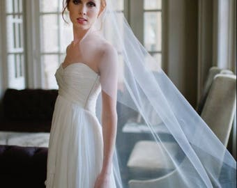 Wedding Veil, Waltz Length Veil, Simple Veil, Mantilla Veil, Soft Tulle Veil, Bridal Veil, Plain Veil, No Gathers  Veil