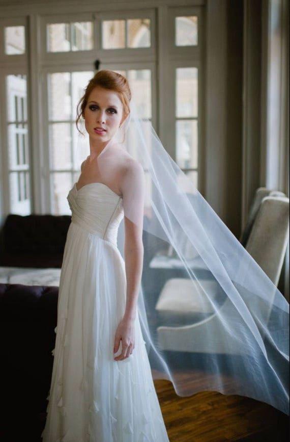 Wedding Veil, Waltz Length Veil, Simple Veil, Mantilla Veil, Soft Tulle Veil, Bridal Veil, Plain Veil, No Gathers  Veil