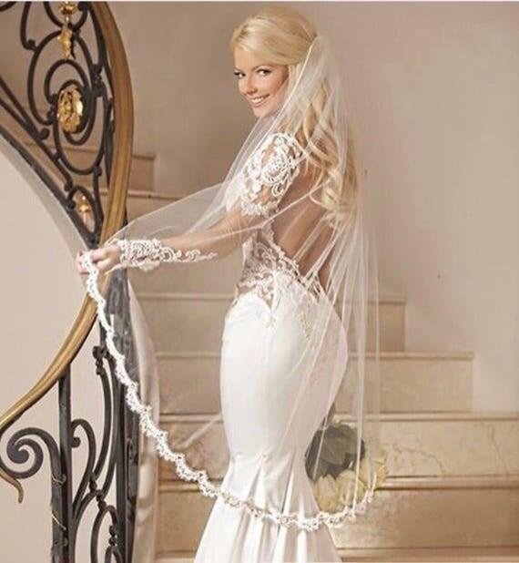 Lace Wedding Veil, Bridal Veil ,Fingertip Veil ,  Soft Tulle Veil, Alencon Lace, Bridal Veil, Cathedral Veil, ELIZABETH VEIL