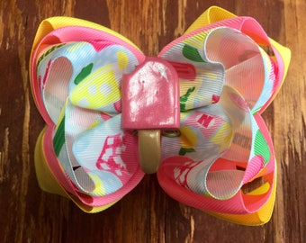 Pink Lemonade Popsicle Triple Stack bow
