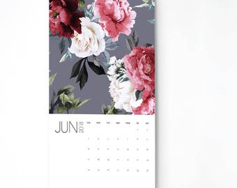 2018 Floral Wall Calendar, 9.5x17.25, Monthly Wall Calendar, Floral Gifts for Her  (cal0053)