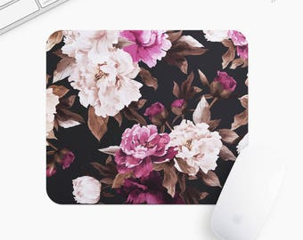 Floral Mouse Pad, Flower Mousepad, Rectangle or Round Circular, Gift mp0021