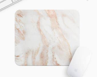 Marble Mouse Pad, Blush Pink Marble Mousepad, Rectangle or Round, Gifts for Women, Gift mp0030