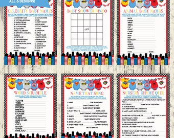 INSTANT DOWNLOAD - Set of 6 Printable Baby Shower Games - Matching Super Hero Baby Shower Invitation - Instant Download
