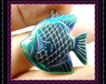 Titanium Hematite Fish Pendant