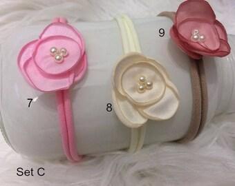 Newborn - 6 months, Nylon Headband, 9 Colors, Styles, Newborn PHoto PRop, Baby Photo Prop Ivory, Brown, Pink,  Flower Headband, RTS,