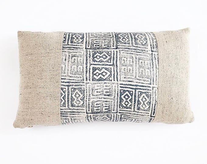 READY TO SHIP Belgian Linen And Indigo Hand Block Printed Linen Lumbar Pillow Cover 12x20