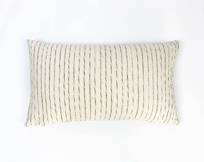 Woven Natural Cotton Stripe Tribal Textile Lumbar Pillow Cover 14x24