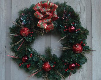 """18"""" Red and Gold Christmas Wreath"""