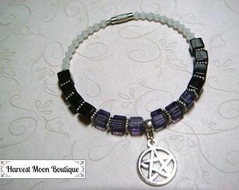 Wiccan Bracelet Pagan Jewelry Witchcraft Pentacle Pentagram Bracelet Purple Crystal Beaded Bracelet Star Jewelry Wicca Plus Size Jewelry