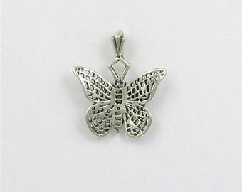 Sterling Silver Detailed Butterfly Charm