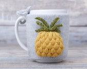 Pineapple lover gift, Mug sweater, Tea sleeve,  Cup warmer, Knitted coffee mug cozy, Party favor,  Tropical fruit, Hot drink cosy