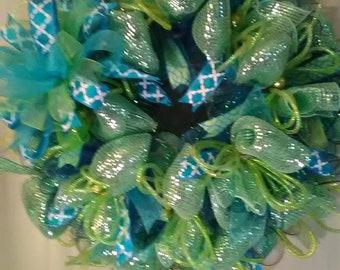 Spring Wreath, Summer Wreath, Deco Mesh Wreath, House Warming Wreath, Front Door Wreath, Patio Wreath, Blue Wreath, Mint Green Wreath