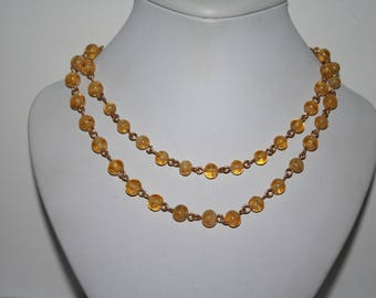 """Beautiful Vintage Golden Honey Beaded Necklace Long 36"""" - Free US Shipping"""