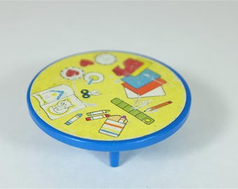 1970 Vintage Fisher Price round blue table - Fisher Price retro Little People table - Fisher Price house furniture