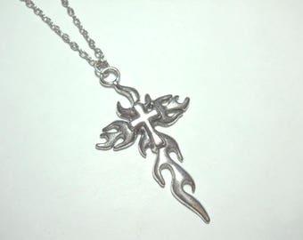 Antique Silver Cross Pendant, Antique Silver Tone, Men's Necklace, Women's Necklace, Antique Silver Tone Chain, Leather Cord