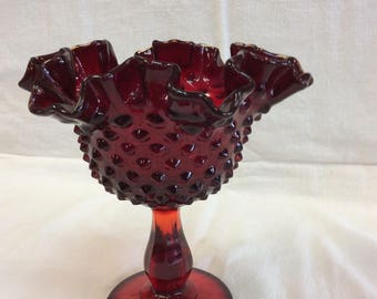 c.1940's Fenton Ruby Red Pedestal Candy Dish