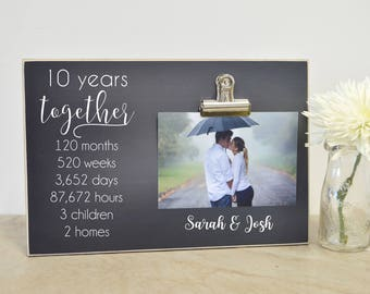 10 year Wedding Anniversary Gift - Anniversary Photo Frame - 5 Year Anniversary - Anniversary Gift For Him - Personalized Anniversary Gift