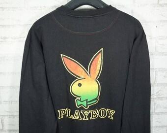 Vintage Playboy Embroidered Big Bunny Raggae Rasta Rabbit  Head Sweater Size Medium M / playboy sweater / plaboy sweatshirt / playboy shirt