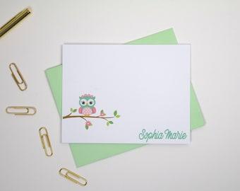 Personalized Kids Stationery Set/Kids Personalized Note Cards/Owl Stationary/Custom Stationary Cards/Paperienco, Kids Stationary Set of 12