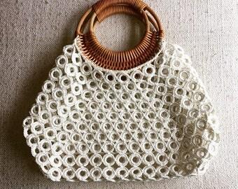 Crochet Clutch with Wooden Wristlet