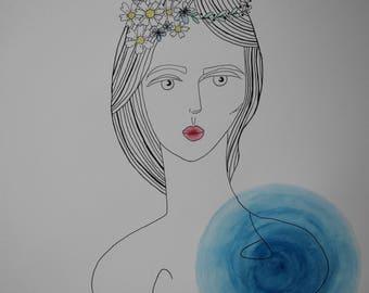 Hippie Girl - Watercolor Art - Print