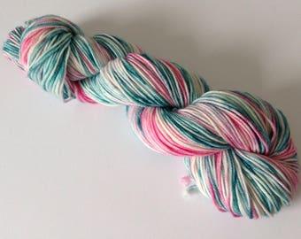hand dyed yarn, dk weight, crazy 8 base. 100% superwash merino, clover