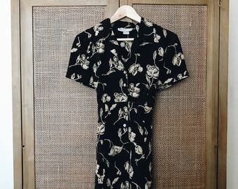 1990's Vintage 'Westport Ltd' Black Beige Tan Floral Short Sleeve Babydoll Dress Size 8