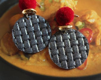 leather earrings with pompom