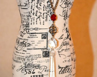 Chandelier Crystal Necklace - Vintage Cut Glass Assemblage Pendant.  Gift for Her.
