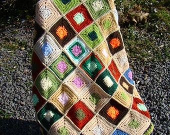 Granny Square Blanket Throw - Autumn Repose