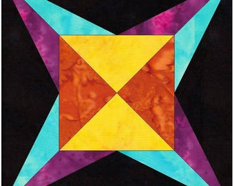 Flame Star 6 Inch Paper Piece Foundation Quilting Block Pattern