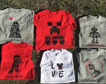 Boys Valentine's Shirts! Can customize!