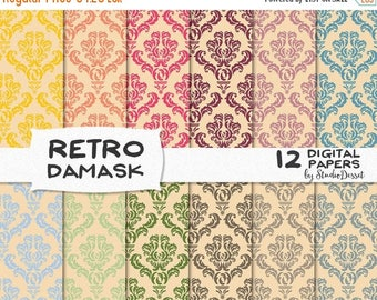 SUMMER SALE - 55% OFF Damask Papers, Retro Digital Papers, Cream Pattern, Diy Weddings or Invitations, Pastel Digital Papers, Vintage Paper