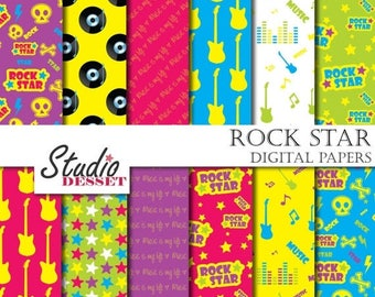 80% OFF - LIMITED TIME - Music Digital Papers, Rock Papers, Printable Guitar Papers, Neon Patterns, Rock Star Overlays, Vinyl Paper, Kids Pa