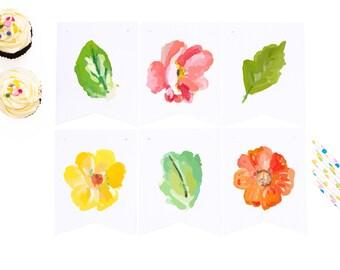 botanical download, printable floral garland, digital download, party banner, party garland, summer bunting, botanical banner, flower banner