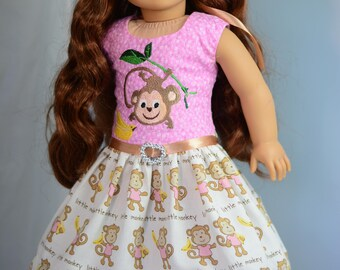"""Little Monkey Dress, Outfit for 18"""" American Girl, Tonner My Imagination and Others"""