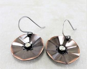 Copper Earrings ~ Flower Earrings ~ Round Dangle Earrings ~ Nature Earrings ~ Mixed Metal Earrings ~ Drop Earrings ~ Primitive Earrings