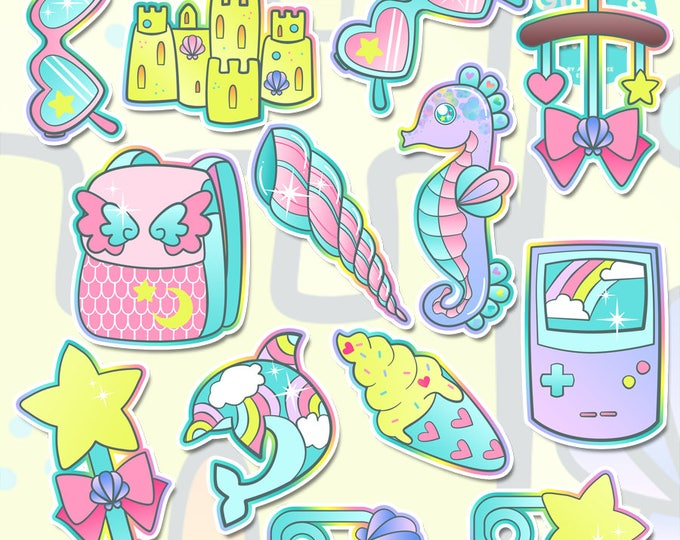 Beach Baby ( DDLG / ABDL Aspects ) Holographic Sticker Pack