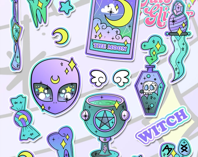 Witchcraft / Wicca, Spooky Holographic Sticker Pack