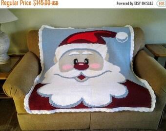 Clearance Santa Claus Afghan / Santa Christmas Throw / Santa Decor