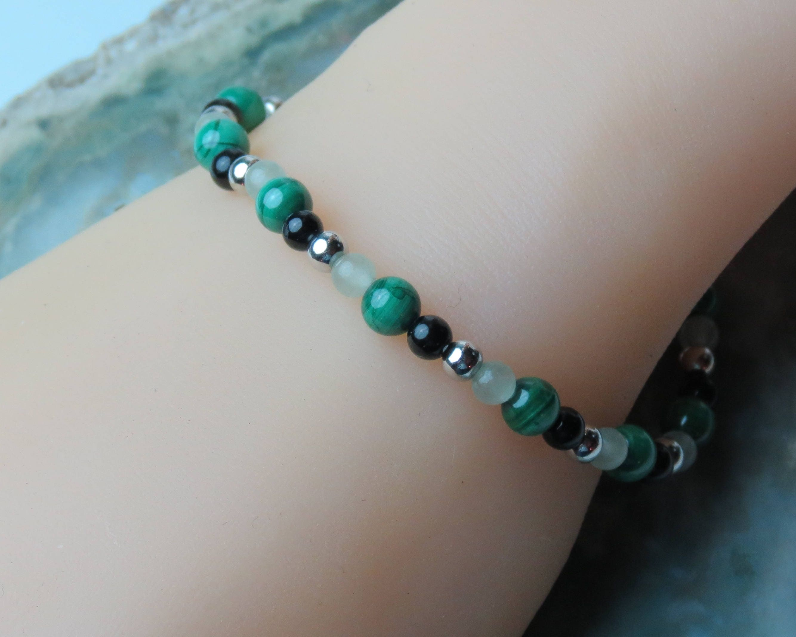 bracelet agate summer jade green beads and with vibes product white weathered stone