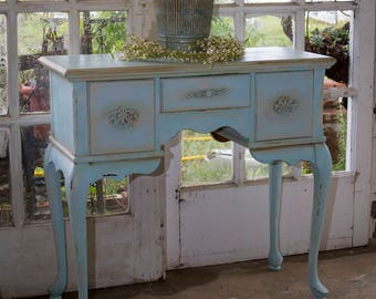 sold)..... Blue sky vintage distressed  Cabriole hand painted entry table desk vanity