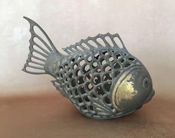 Brass Koi Fish, Brass Candle Holder, Tabletop Lantern, Asian Koi Fish, Reticulated Brass, Boho Decor, Fish Lantern, Vintage Garden  Decor